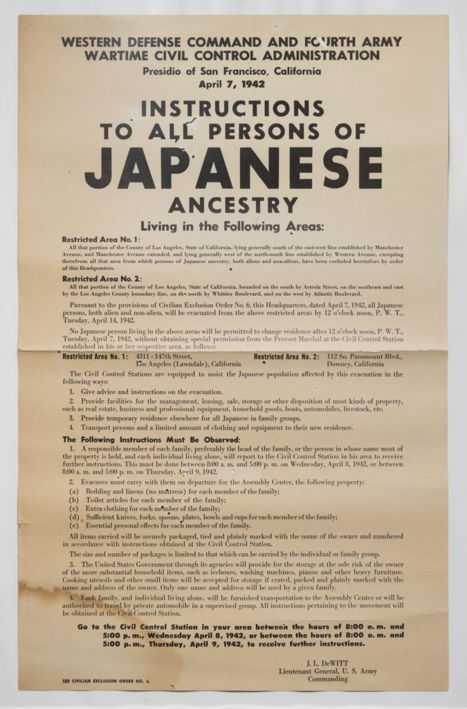"""Instructions to All Persons of Japanese Ancestry"" Poster, 1942. Courtesy Stanley Oda. Photo by James Prinz."