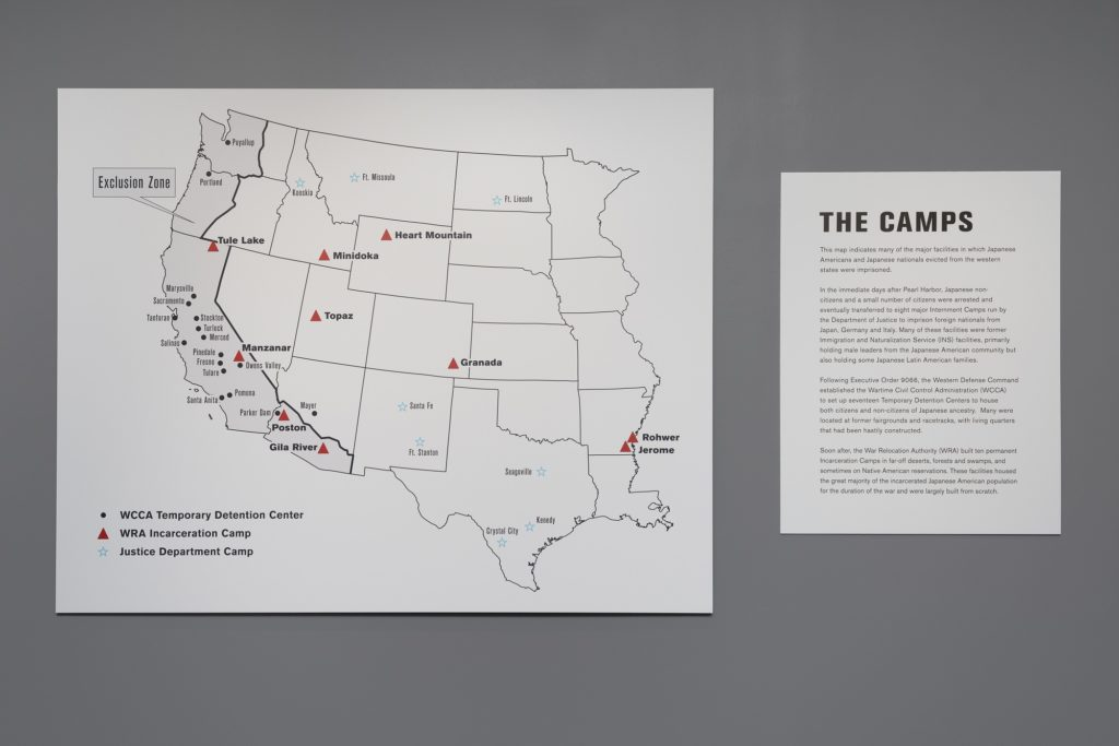 Map of the Camps in Then They Came for Me, Alphawood Gallery, 2017. Photo by James Prinz.